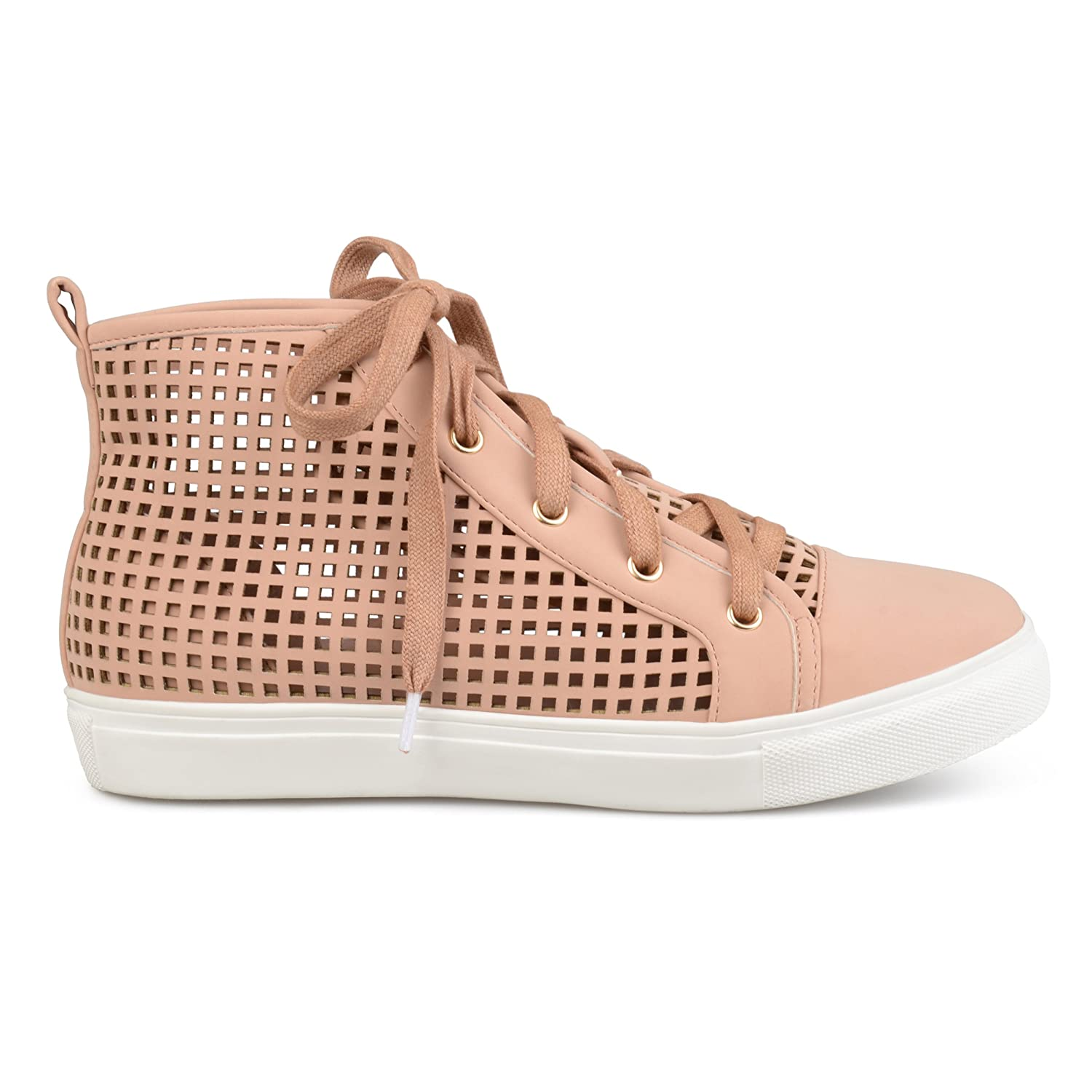 Brinley Co Womens Faux Leather High-Top Lace-up Laser-Cut Sneakers B073RSD9MM 7.5 B(M) US|Mauve