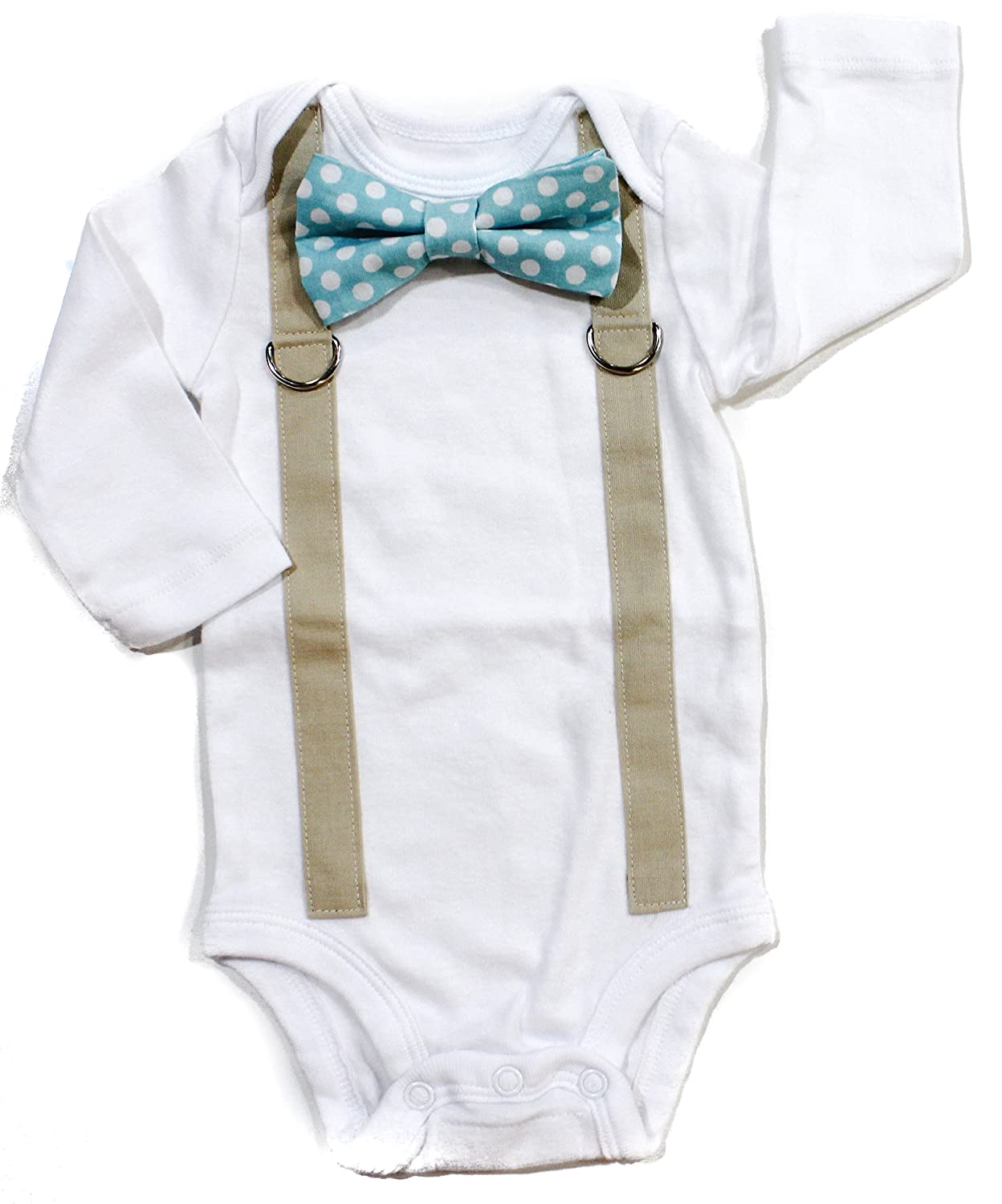 932b11ee4 Amazon.com: Cuddle Sleep Dream Baby Boy Coming Home Outfit with Bow Tie and  Suspenders in Aqua: Clothing