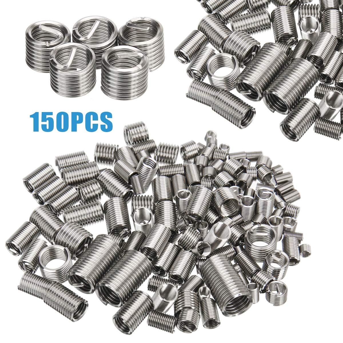 Ochoos 150pcs Stainless Steel Thread Repair Insert Kit M3 M4 M5 M6 M8 Helicoil Rivet Nut Kit