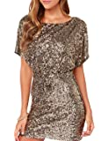 Richlulu Womens Sparkly Sequin Cut Out Backless Wrap Mini Club Dress