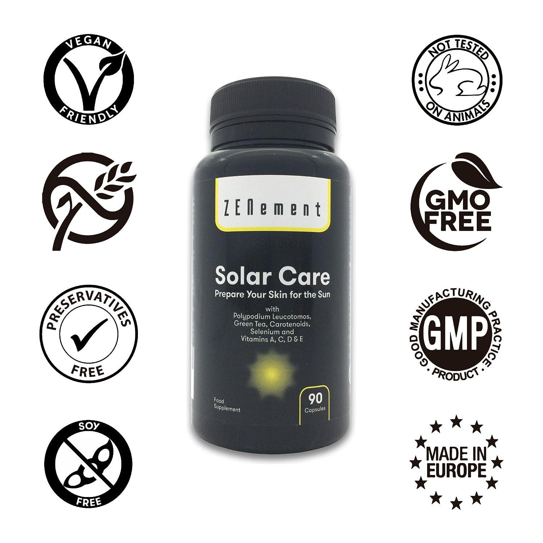 Solar Care con Calaguala (Polypodium leucotomos), Té Verde, Carotenoides, Selenio y Vit. A, C, D y E, 90 Cápsulas | Protege la piel del sol, previene las ...