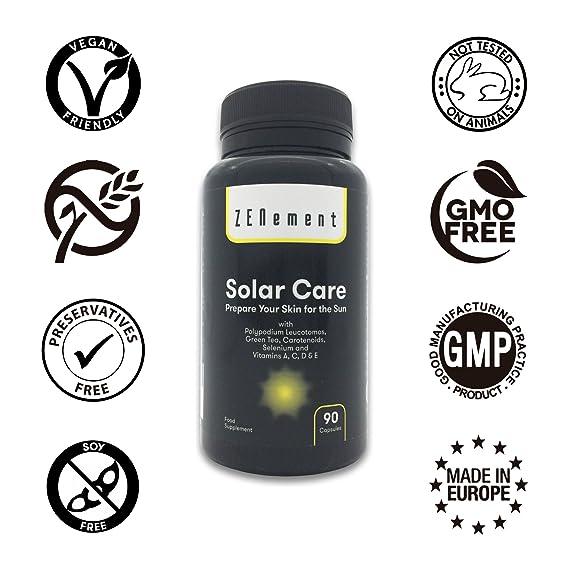 Solar Care con Calaguala (Polypodium leucotomos), Té Verde, Carotenoides, Selenio y Vit. A, C, D y E, 90 Cápsulas   Protege la piel del sol, previene las ...
