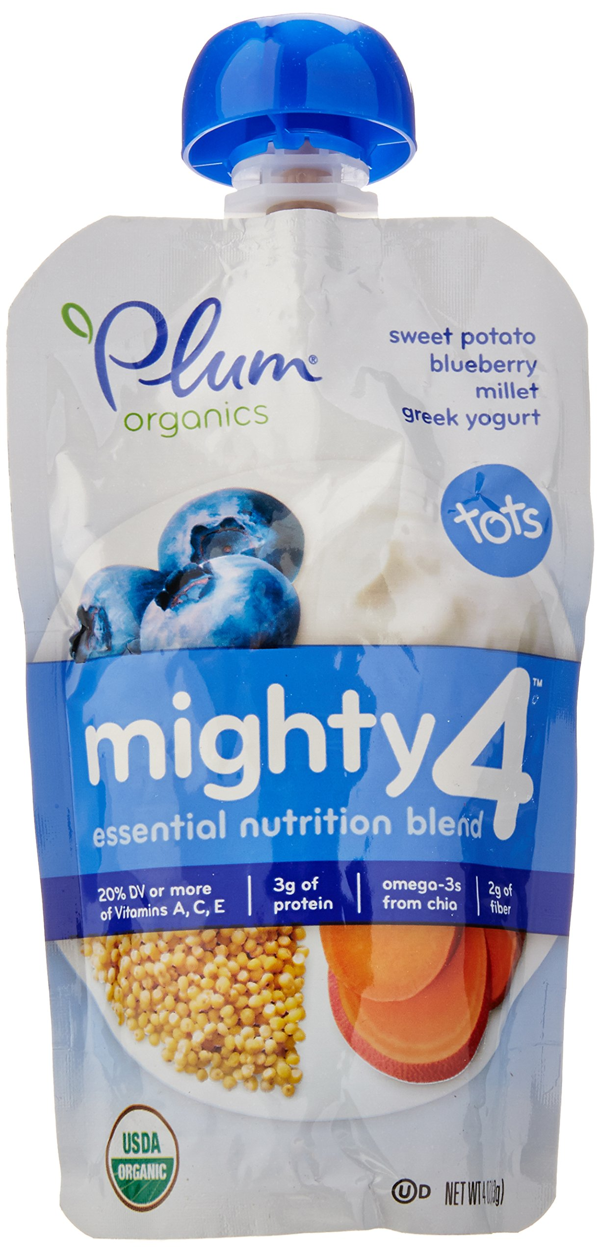 Plum Organics Tots Mighty 4 Purees - Sweet Potato, Carrot, Blueberry, Apple, Greek Yogurt, Millet & Oat - 4 oz - 6 pk by Plum Organics