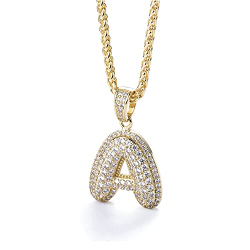 c27e5a343cbf3 Initial Letter Necklace Bubble Letter Chain Diamond Necklace Iced Out  Chains for Men Gold Chain Gold Chains Gold Necklace for Men Women