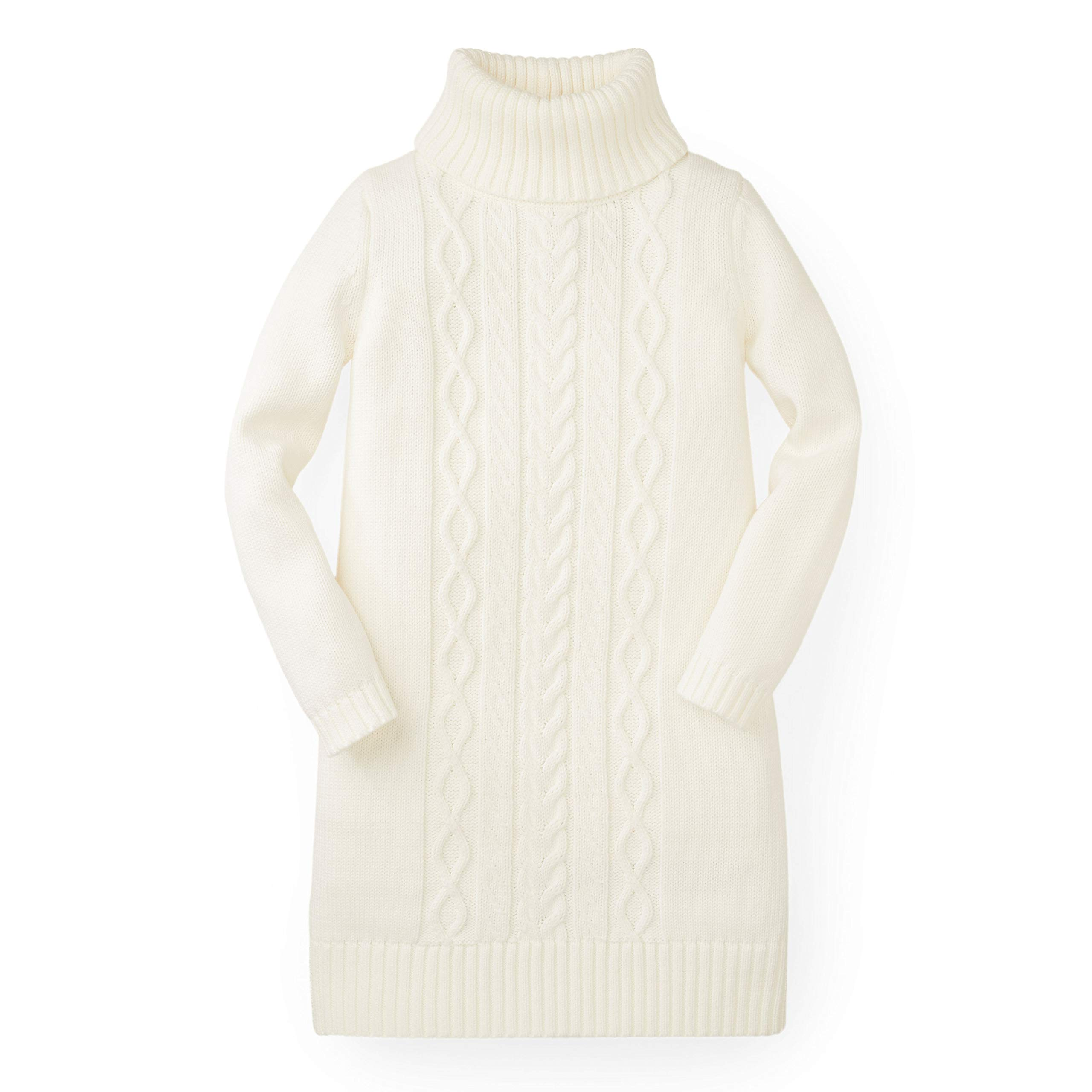 Hope & Henry Girls' White Turtleneck Sweater Dress Made with Organic Cotton