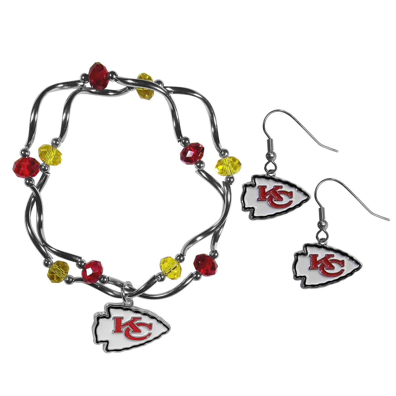 Siskiyou NFL Womens Dangle Earrings and Crystal Bead Bracelet Set