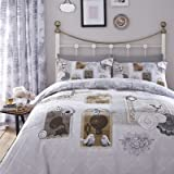 Catherine Lansfield Home Antique Collage Reversible Duvet Cover Set, Multi, Double