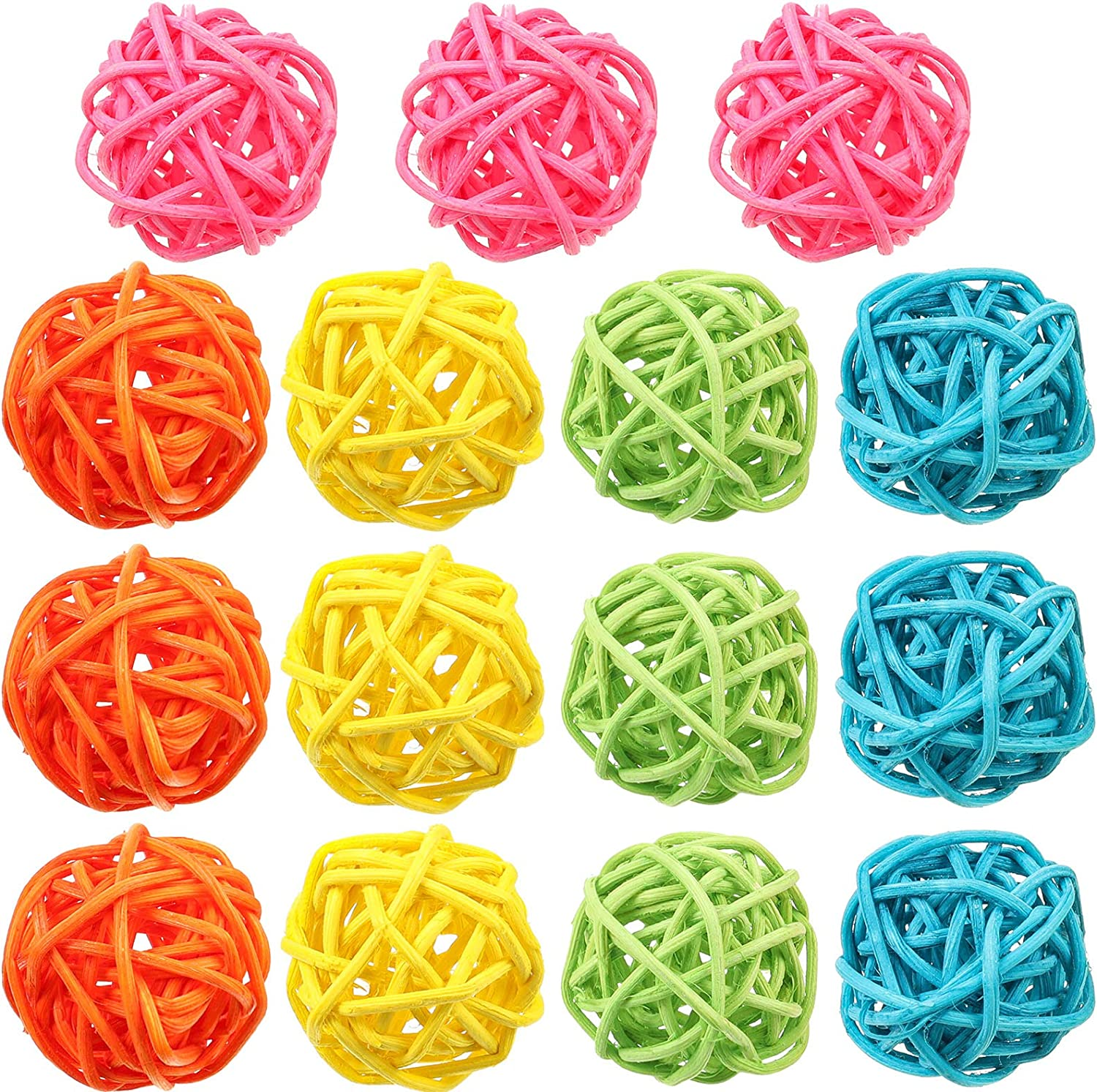 Patelai 15 Pieces Wicker Rattan Balls 1.6 Inch Decorative Orbs Vase Fillers Wicker Ball Vase Filler for Holiday Aromatherapy Accessory Table Banquet Decoration (Pink, Orange, Green, Blue, Yellow)