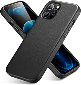 ESR Premium Real Leather Desigened for iPhone Case/iPhone Pro Case[Slim Full Leather] [Supports Wireless Charging] [Scratch-Resistant] Protective Case for iPhone/iPhone Pro 2020, 6.7-Inch – Black