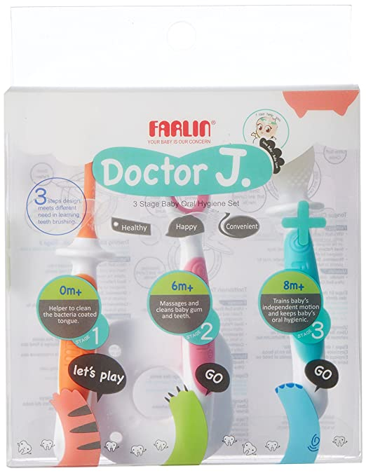 Amazon.com: FARLIN 3 Stage Baby Oral Hygiene Set, Infant Oral Care Kit, 0-6 Months, Advanced Baby Training Toothbrush Tongue Cleaner: Baby