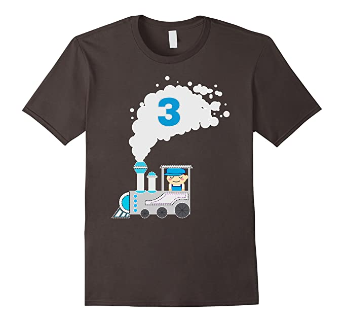 Mens Kids 3 Year Old Train Birthday Shirt Boys 3rd 2XL Asphalt