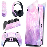 PlayVital Pink Watercolor Full Set Skin Decal for PS5 Console Digital Edition, Sticker Vinyl Decal Cover for Playstation…