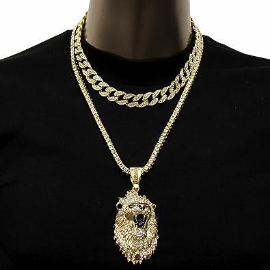 65692501a1f1a Mens Hip-Hop King Lion Face w/ 18