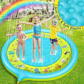 Dookey Splash Pad, Tapete Acuático, Jardín de Verano Juguete para Niños de 170 cm, Piscina de Juego de Verano para Niños y Mascotas en Jardín (Azul - Amarrillo): Amazon.es: Juguetes y juegos