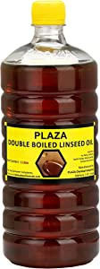 Double Boiled Linseed Oil by PLAZA- 1 Litre Pack used for Wood Finishing, On Walls before applying paint, mixing in putty, bare wooden furniture, outside wooden furniture, Cricket bats, hockey, guitar