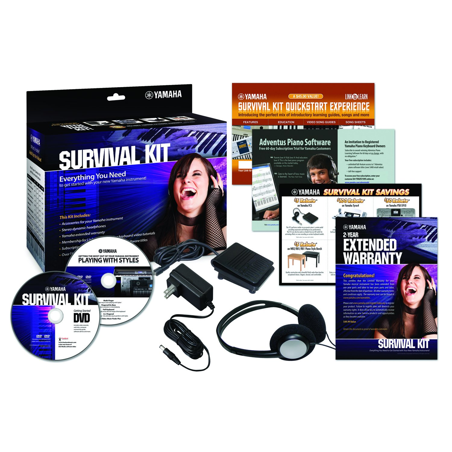 Yamaha SKD2 Survival Kit for Portable Yamaha Keyboards Cascio Interstate Music SK D2
