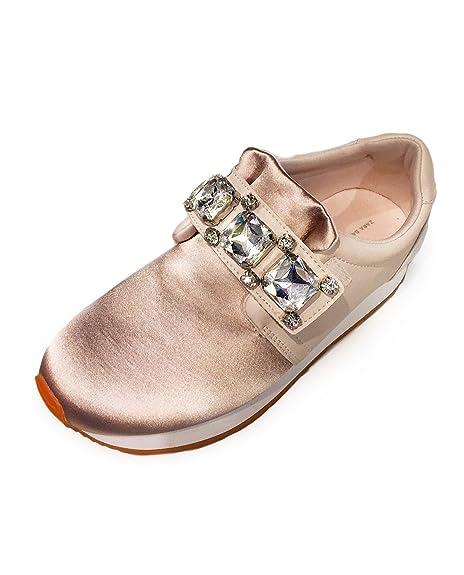 6b624d16802 Zara Women Bejewelled satin sneakers 6700/201 (40 EU   9 US   7 UK ...