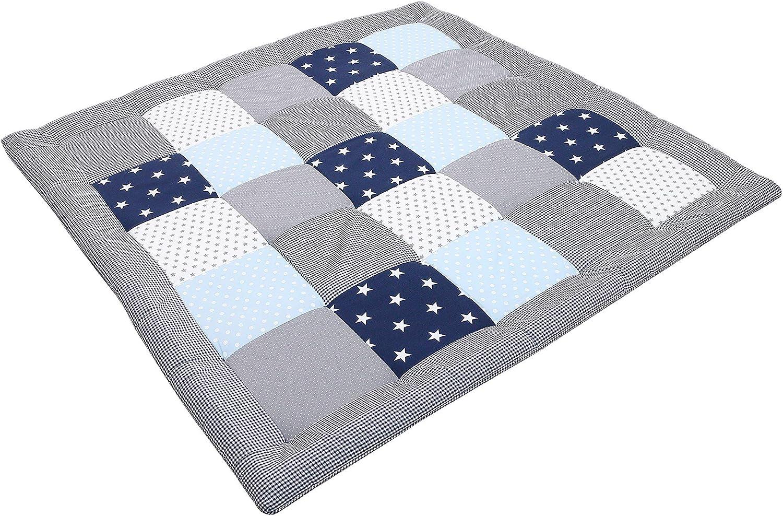100x100 cm Tapis sol b/éb/é patchwork, Motifs /él/éphants et pois ULLENBOOM /® Tapis d/'/Éveil et Matelas pour Parc B/éb/é /Él/éphant Vert Bleu
