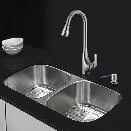 Kraus 32 Inch Undermount Double Bowl Stainless Steel Kitchen Sink