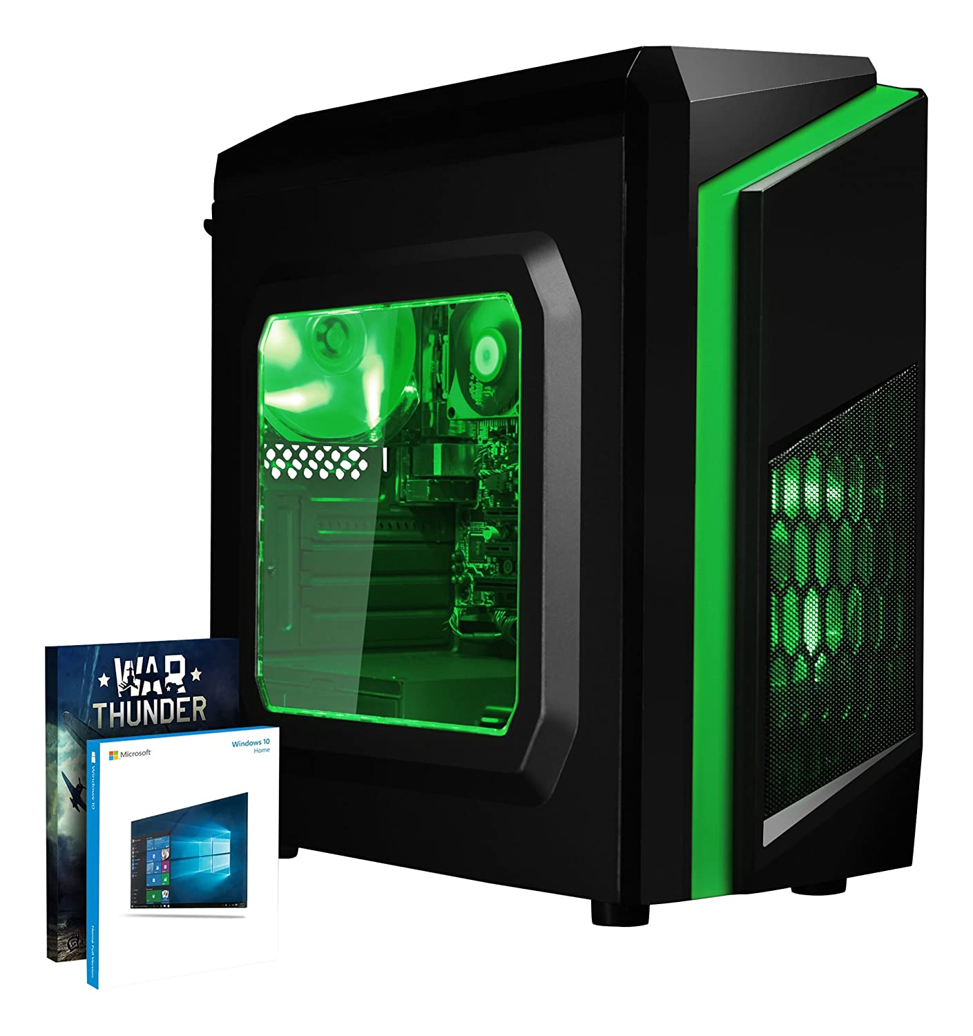 VIBOX FX-35 - Ordenador de sobremesa Gaming (USB, AMD A10, RAM de 8 GB, Disco Duro de 1 TB, 3.6 GHz, Windows 10 Home) Color Verde