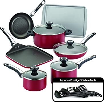 Farberware 21808 High Performance Nonstick Cookware Pots and Pans Set Dishwasher Safe, 17 Piece, Red