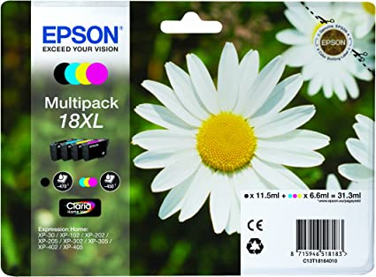 Epson 18XL - Pack de 4 cartuchos de tinta, tricolor y negro, XL válido para los modelos XP-425, XP-422, XP-415, XP-412, XP-325, XP-322, XP-215 y otros, Ya disponible en Amazon Dash Replenishment: