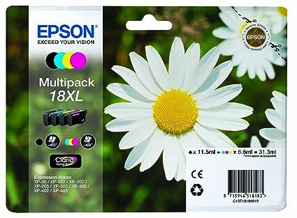 Epson 18XL - Pack de 4 cartuchos de tinta, tricolor y negro, XL válido para los modelos XP-425, XP-422, XP-415, XP-412, XP-325, XP-322, XP-215 y ...