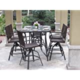 7PC Outdoor Premium Wicker Patio Bar Dining Set
