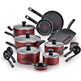 T-fal B165SI Initiatives Nonstick Inside and Out Dishwasher Safe 18-Piece Cookware Set, Red