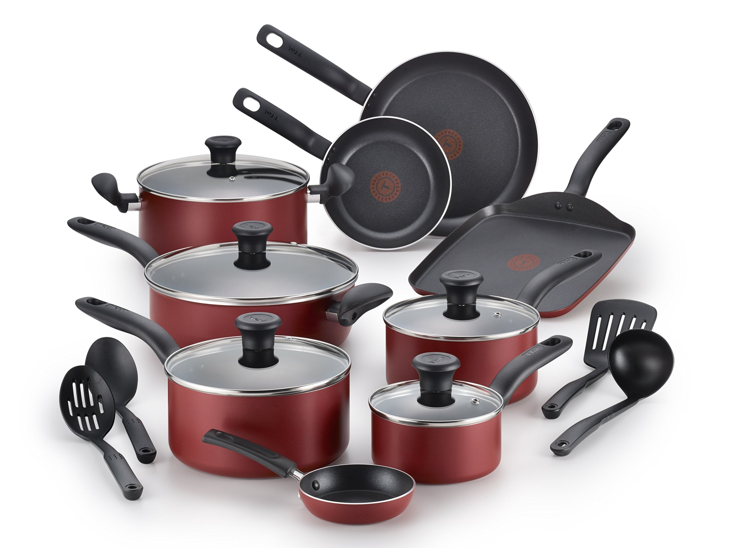 T-fal B165SI Initiatives Nonstick Inside and Out Dishwasher Safe 18-Piece Cookware Set, Red by T-fal