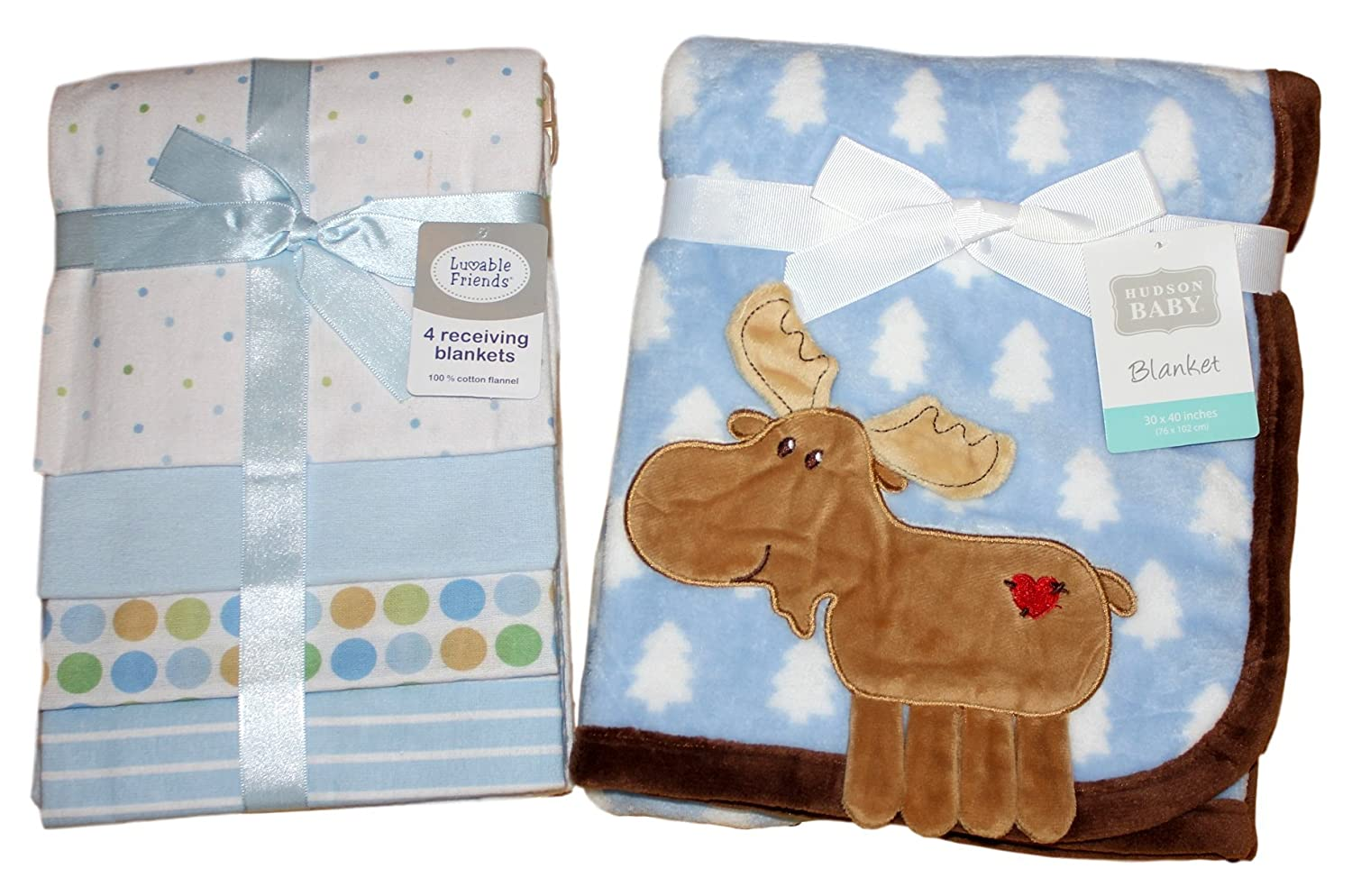 Hudson Baby Coral Fleece 3D Moose Blanket, Blue with Luvable Friends Flannel Receiving Blankets, Blue, 4 Count - Perfect Bundle for a Rimon