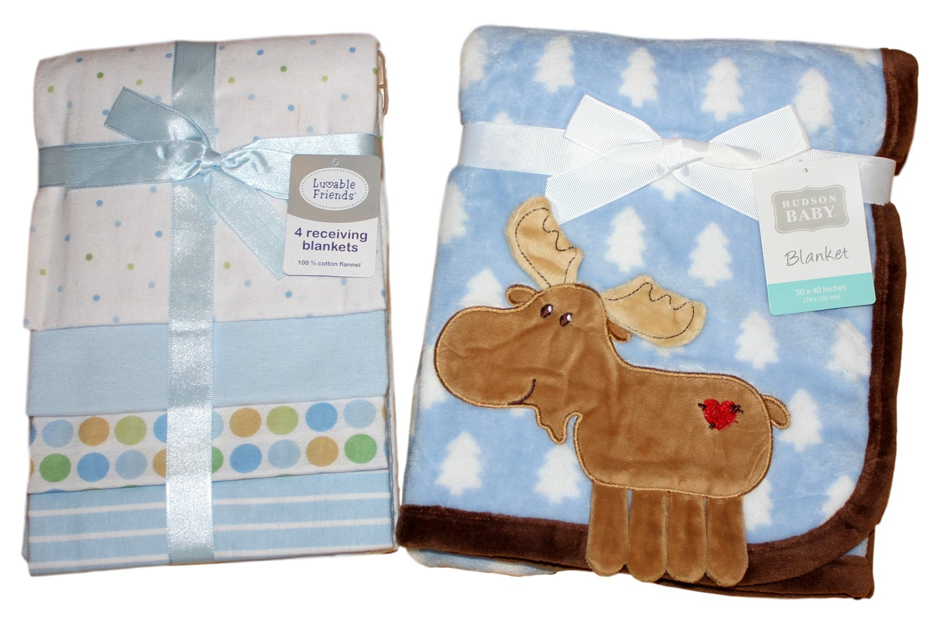 Hudson Baby Coral Fleece 3D Moose Blanket, Blue with Luvable Friends Flannel Receiving Blankets, Blue, 4 Count - Perfect Bundle for a