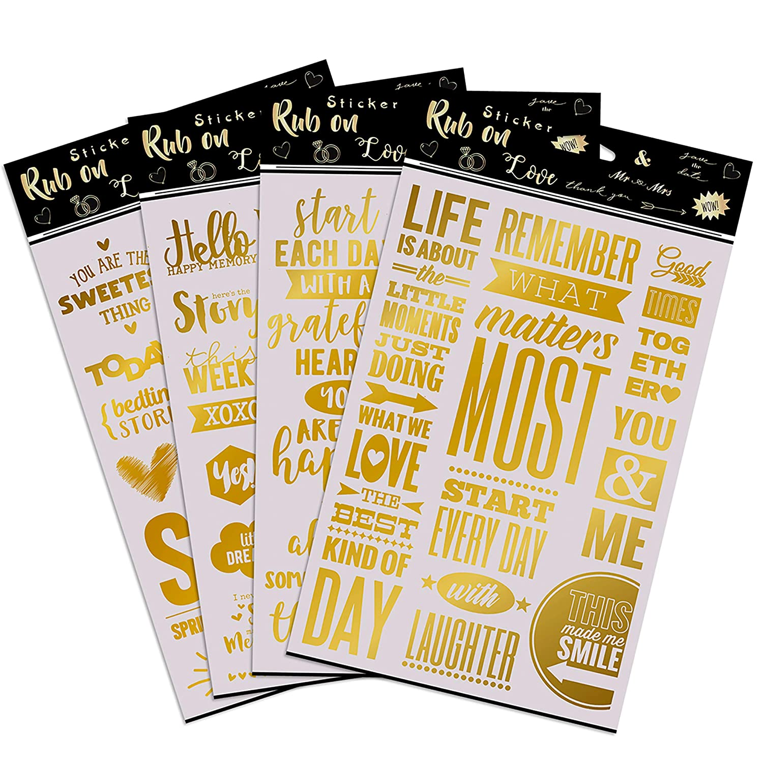 Gold foil planner stickers for those who love scrapbooking supplies and stickers card making supplies journal book set of 4 golden transfer sheets