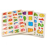 Arshiner 56pcs Wooden Jigsaw Deluxe Classic Peg Puzzle Bundle 3 Alphabet/number/Graph Set Toys