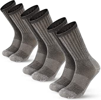Men's 80% Merino Wool Hiking Calf Tube Socks Thermal Warm Crew Winter Sock for Trekking, Walking, Outdoor,3 Pairs