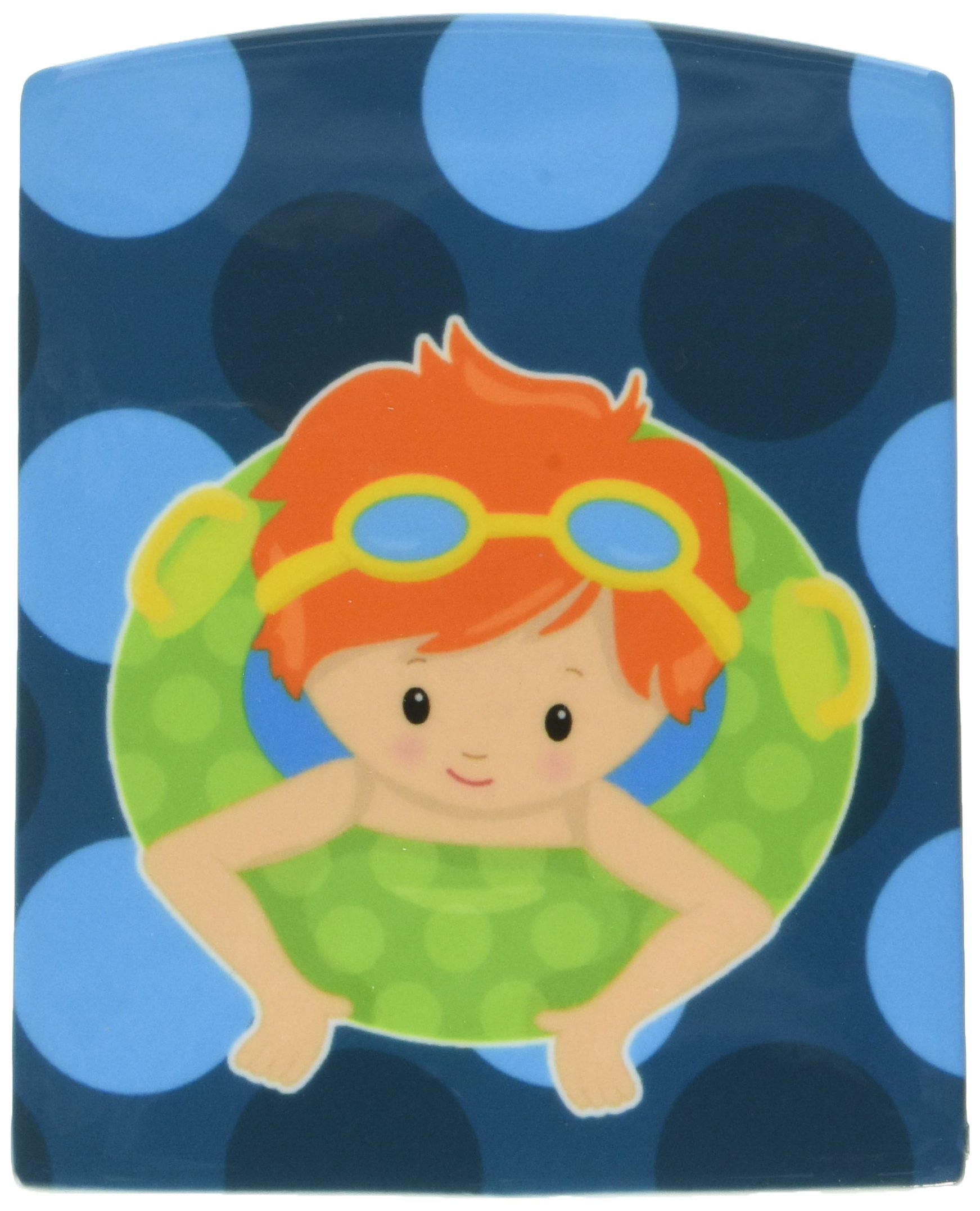 Caroline's Treasures Summer Pool Boy in Tube Ceramic Night Light, Ginger, Blue, 6'' x 4''
