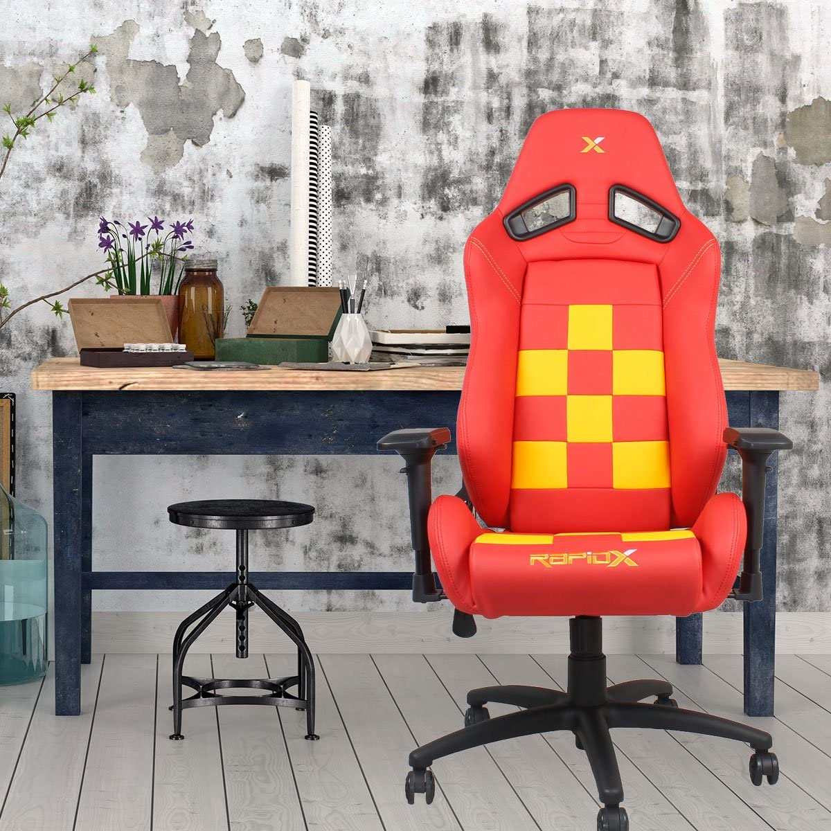 fd6ddbf113b18 Amazon.com  Finish Line Yellow on Red Checkered Flag Pattern Gaming and  Lifestyle Chair by RapidX  not machine specific  Video Games
