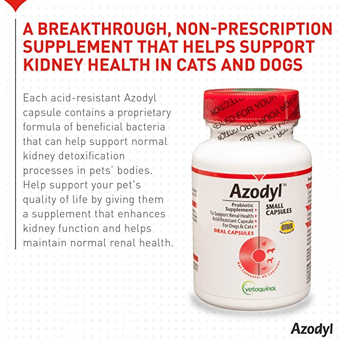 Vetoquinol Azodyl Kidney Health Supplement for Dogs & Cats, 90ct -  Probiotic Pet Well-being - Help Support Kidney Function & Manage Renal  Toxins -