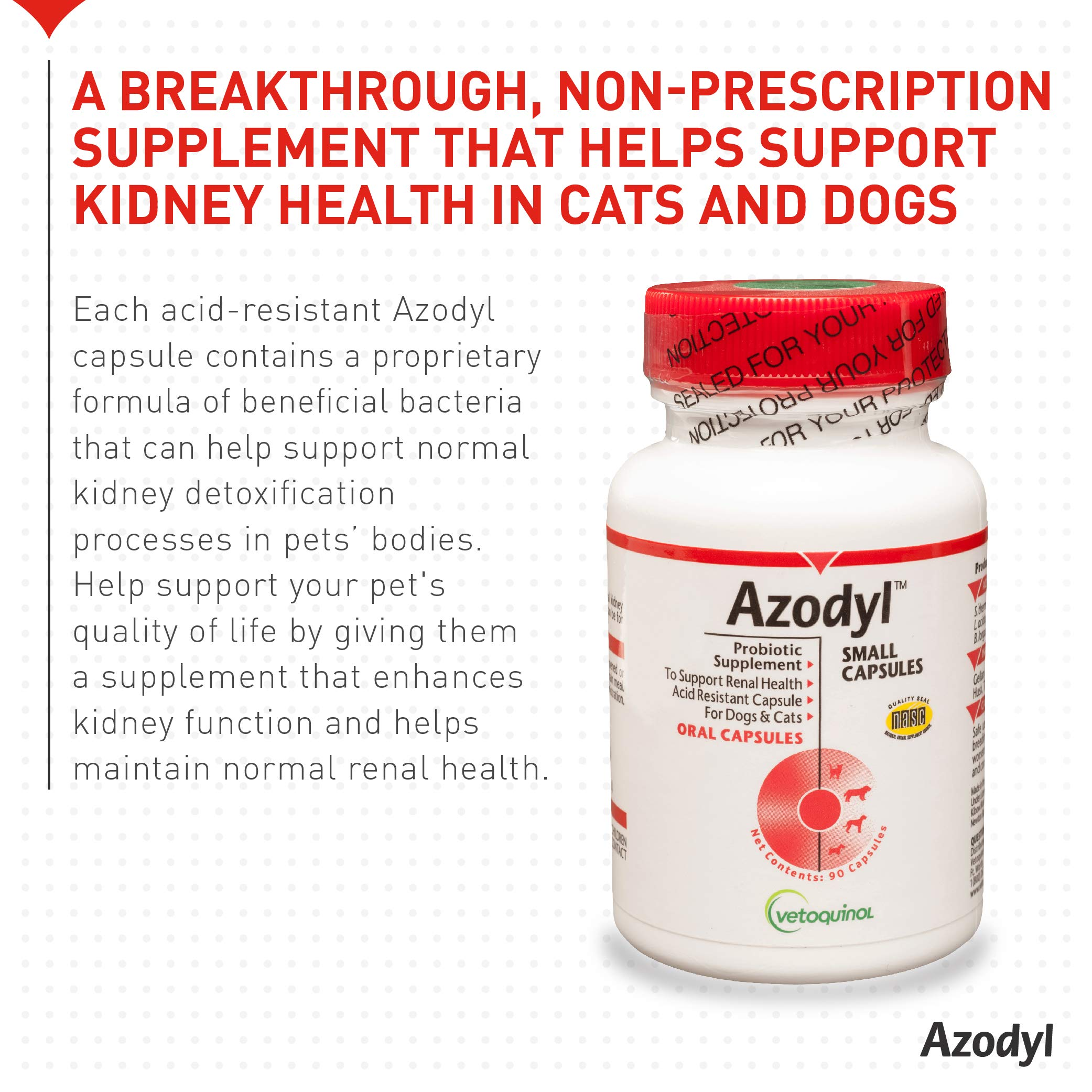 Vetoquinol Azodyl Kidney Health Supplement for Dogs & Cats, 90ct - Probiotic Pet Well-being - Help Support Kidney Function & Manage Renal Toxins - Renal Care Supplement - Easy-to-Swallow Small Caps by Vetoquinol (Image #2)