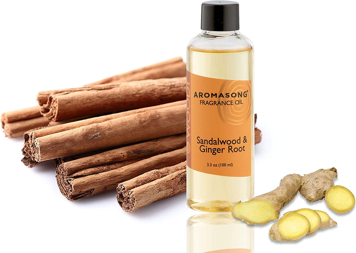 Aromasong Sandalwood & Ginger Root Scented Fragrance Oil Diffuser Refills for Reeds Porcelain and Electric Diffusers in Beautiful Packaging 100 ml