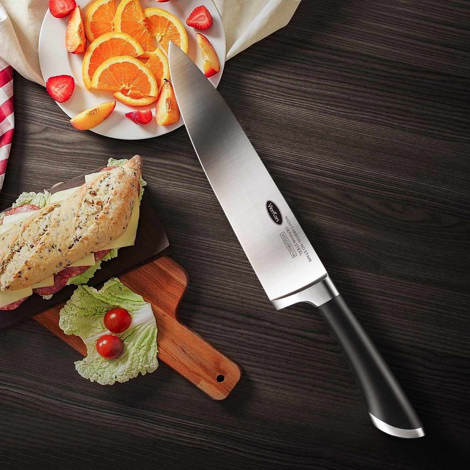 Kitchen Knife 8 inches Chef Knife - VIANKORS pro German stainless steel sharp knives, Highly Recommended,Razor Sharp, Ergonomic handle, For home & restaurant by Viankors (Image #6)