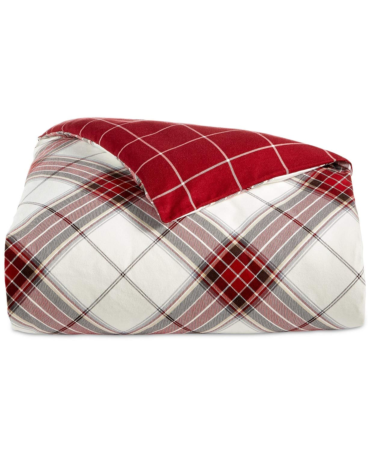 Martha Stewart Collection Deer Pond Flannel Plaid Full/Queen Duvet Cover