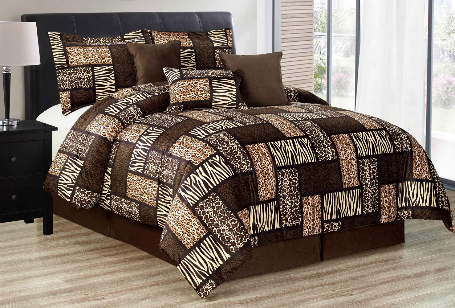 7 Piee KING Size Safari Comforter set - Leopard, Tiger Zebra, Etc - Multi Animal Print Bed in a Bag Brown Black Beige Micro Fur Bedding