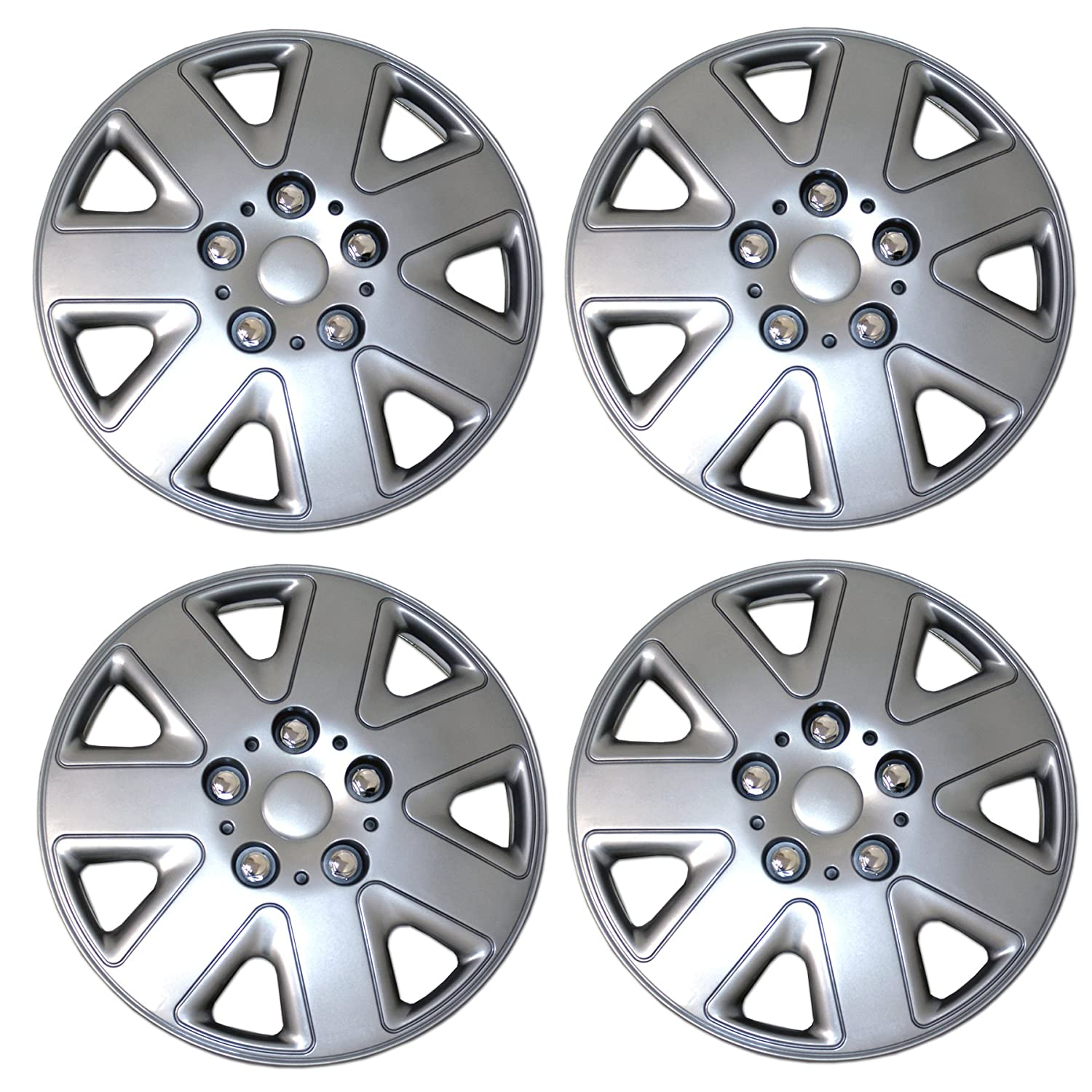 TuningPros WSC3-026S16 4pcs Set Snap-On Type (Pop-On) 16-Inches Metallic Silver Hubcaps Wheel Cover
