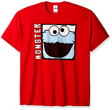 605d380f Sesame Street Men's Big and Tall Cookie Monster 90s Retro T-Shirt, Red,
