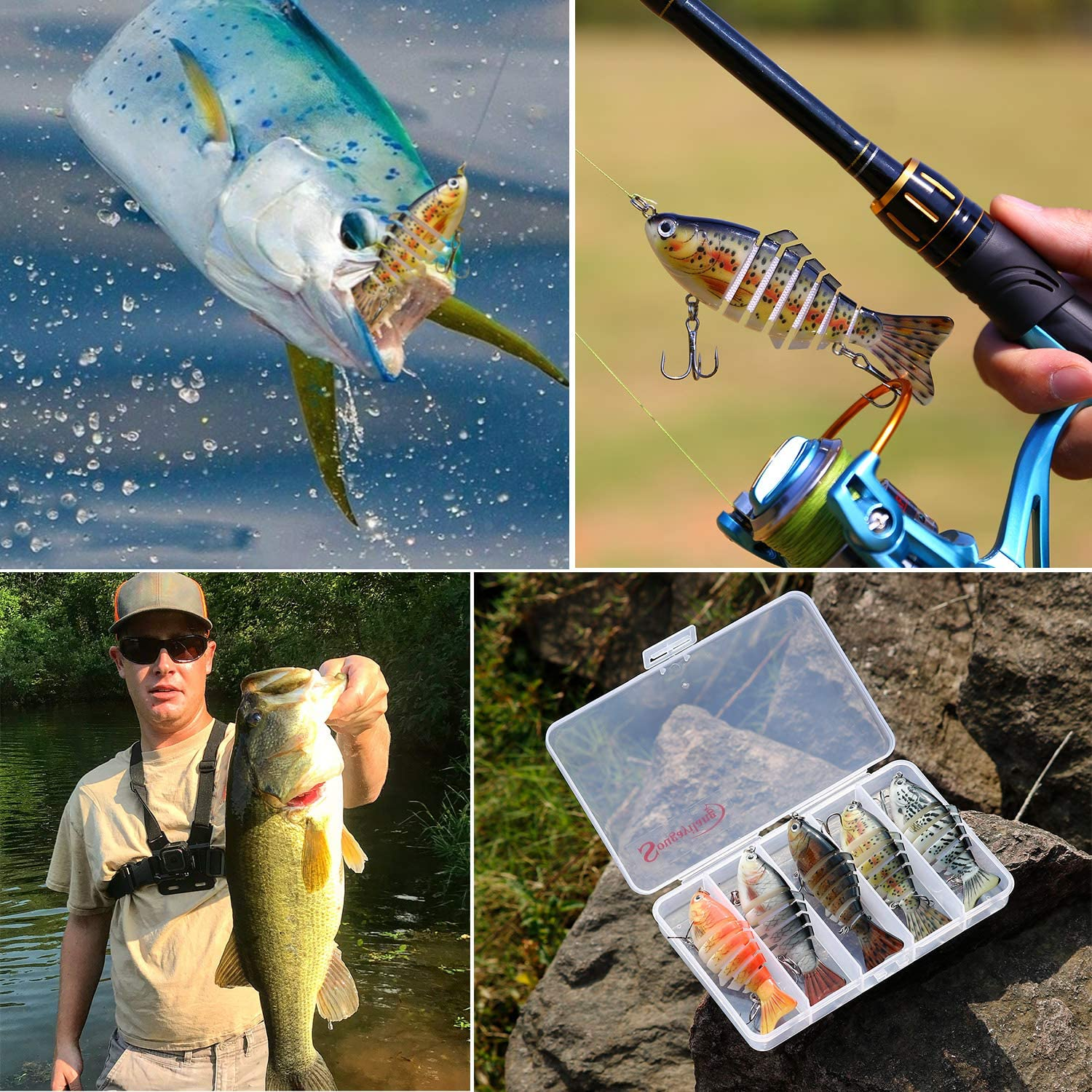 Sougayilang Fishing Lure with Floating Rotating Tail Topwater Bait Freshwater Saltwater Lures for Carp Bass Pike