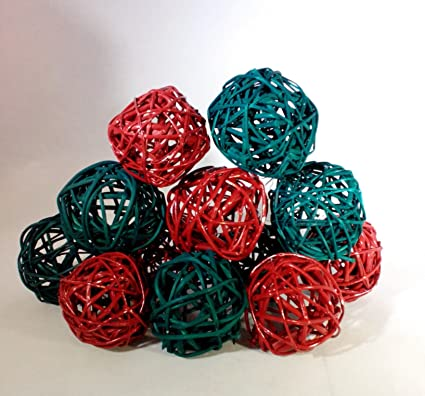 Amazon Decorative Spheres Red And Green Rattan Vase Filler
