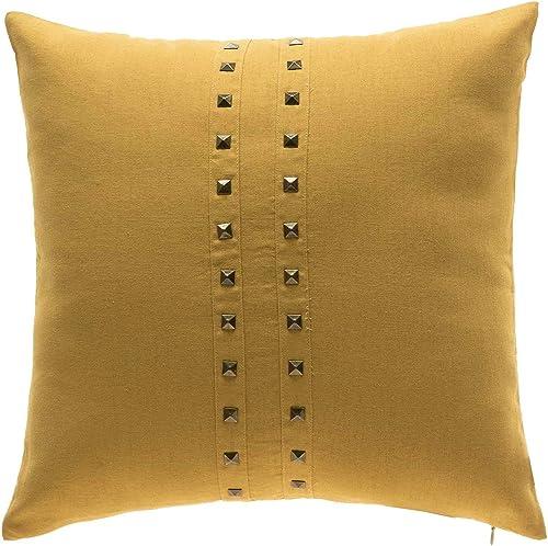 TINA S HOME Mustard Yellow Rivet Throw Pillow