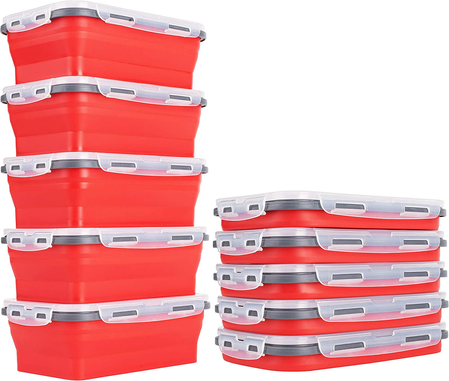 5 Collapsible Food Storage Containers With Lids. 5th Container Free When 4 (6-Cup) Candy Apple Red Silicone Food Storage Containers Are Purchased. We Use Food Safe Silicone (XL-1200ml).