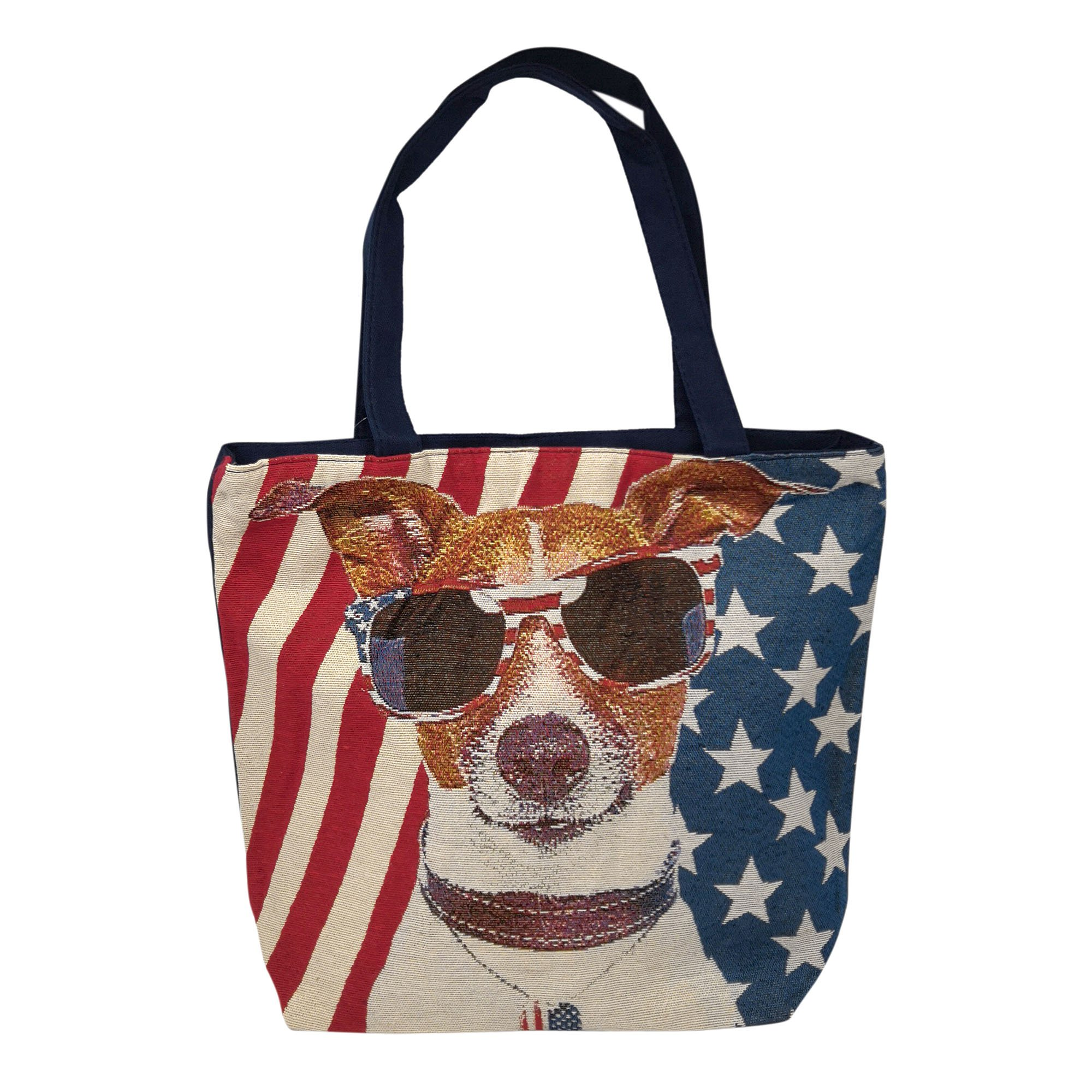 Jacquard Canvas Large Tote Bag, American Dog Jack Russell
